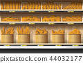 Different kinds of bread display on shelf  44032177