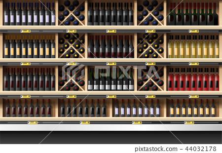 Various bottles of wine display on shelf 44032178