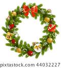 Vector Christmas Fir Wreath 44032227