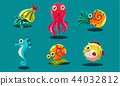 Sea creatures set, cute funny animals and fishes characters, seahorse, snail, cuttlefish, puffer 44032812