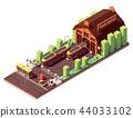 Vector isometric tram depot building 44033102