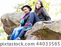 Two young females sitting on rock 44033565