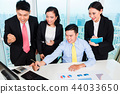 Successful businesspeople looking at computer 44033650