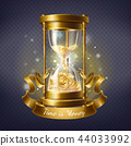 Vector hourglass with gold coins, time is money 44033992
