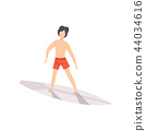 Surfer guy riding a surfboard, young man enjoying summer vacation on the sea or ocean vector 44034616