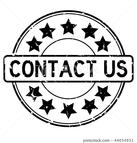 Grunge black contact us word round rubber stamp 44034931