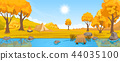 Autumn rural landscape with hills and river 44035100