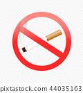 cigarette forbid sign on transparent 44035163
