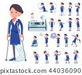 flat type Cabin attendant blue woman_sickness 44036090
