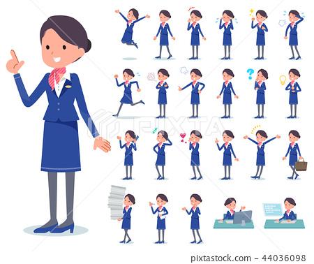 flat type Cabin attendant blue woman_emotion 44036098