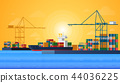 Cargo sea port with cargo freight ships and harbour port cranes also city. Vector Flat design 44036225