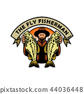 Fly Fisherman Holding Largemouth Bass Woodcut 44036448