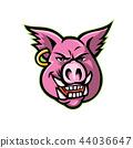 Pink Pig Wearing Earring Mascot 44036647
