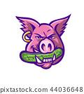 Pink Pig Biting Pickle Mascot 44036648