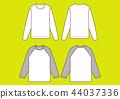 긴팔 T 셔츠 라글란 T 셔츠 벡터 44037336