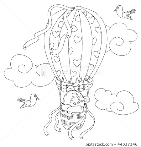 Coloring page for kids with a cute teddy bear flying in a hot air balloon and a funny seagull. 44037346