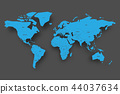 Blue map of World on grey background 44037634