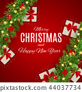 Merry Christmas and New Year Background. Vector Illustration 44037734