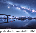 Bridge and starry sky with Milky Way over mountain 44038061