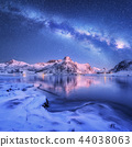 Milky Way above frozen sea coast and mountains 44038063