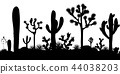 Desert seamless pattern with silhouettes of joshua trees, opuntia, and saguaro cacti. 44038203