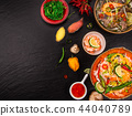 Various of asian meals on rustic background , top view , place for text. 44040789