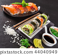 Japanese Sushi over black background. 44040949
