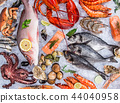 Fresh tasty seafood served on old wooden table. 44040958