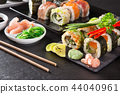 Japanese Sushi over black background. 44040961
