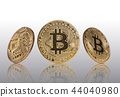 Bitcoins gold coin on light grey background. 44040980