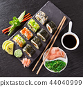 Japanese Sushi over black background. 44040999