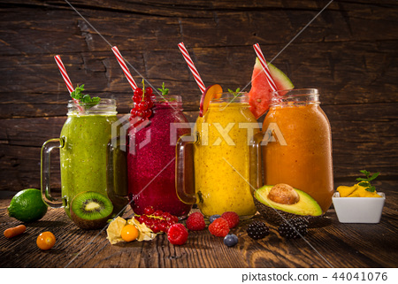 Healthy fresh smoothies with ingredients. 44041076