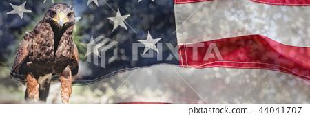 Full frame of wrinkled American flag 44041707