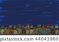 유럽 밤거리의 풍경 손으로 그린 컬러 44043960