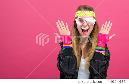 Woman in 1980's fashion theme 44044483