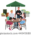 咖啡館訂單男人和女人的插圖 44045680