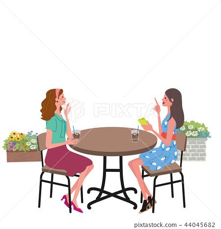 咖啡館談話婦女例證 44045682