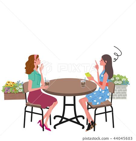 咖啡館交談麻煩婦女例證 44045683