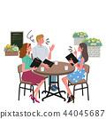 咖啡館談話男人和婦女例證 44045687