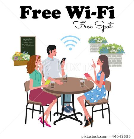 免費Wi-Fi咖啡館插圖 44045689
