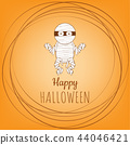 Halloween mummy zombie cartoon character. 44046421