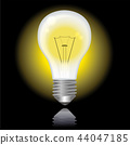 发光的电灯泡的例证|黑背景|电灯泡例证 44047185