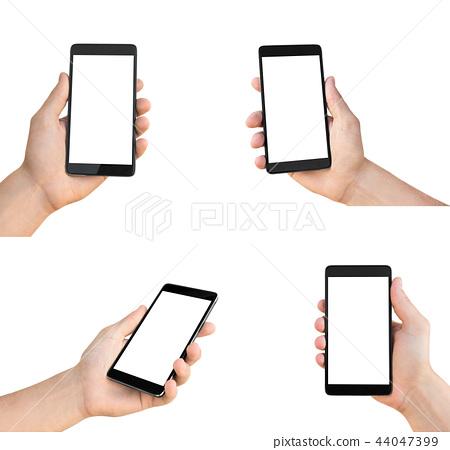 Set of man's hands holding smartphone 44047399