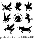 Horse Animal Mammal Tattoo Black Silhouette Vector 44047481