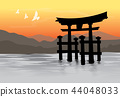 Miyajima Floating Torii gate Japan Vector 44048033