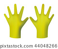 Yellow rubber gloves. 44048266