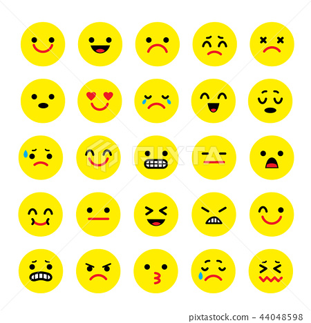 Vector icons of smiley faces emotion Cartoon 44048598