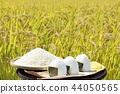 นาข้าวฤดูใบไม้ร่วงและชามข้าวลูก 44050565