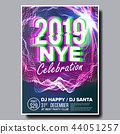 2019 Party Flyer Poster Vector. Happy New Year. Music Night Club Event. Greeting Dance Event. Design 44051257