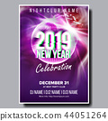 2019 Party Flyer Poster Vector. Happy New Year. Night Club Celebration. Musical Concert Banner 44051264